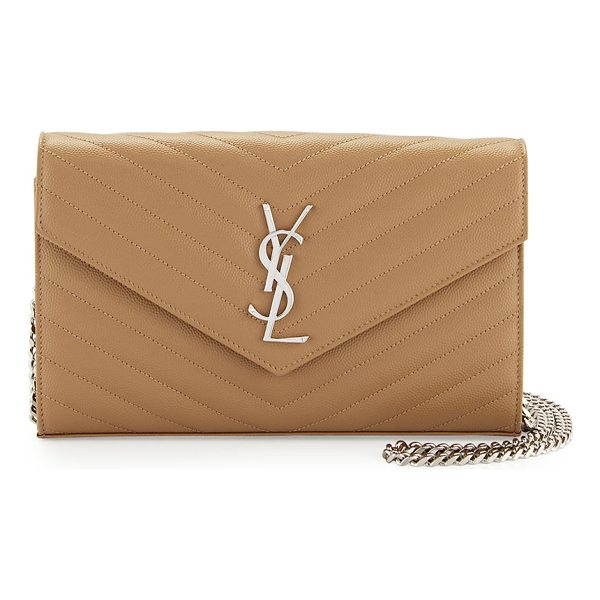 SAINT LAURENT Grain de Poudre Calfskin Wallet on Chain - Saint Laurent grain de poudre calfskin wallet on chain....