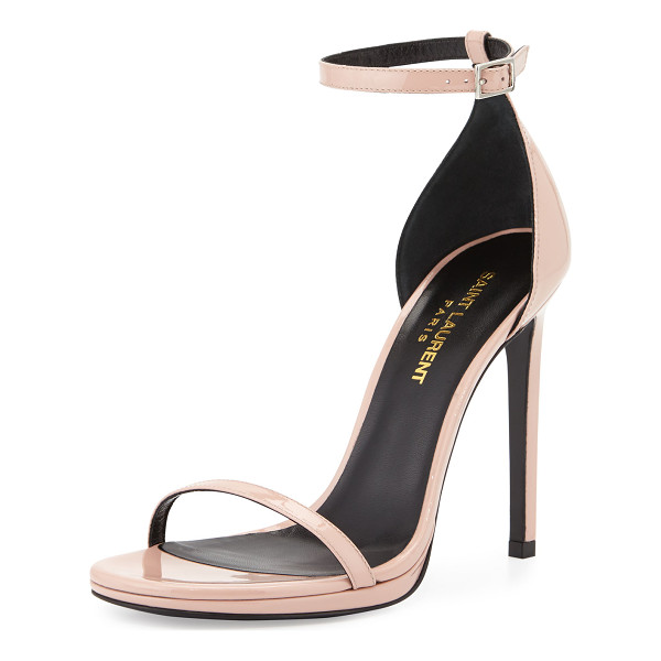 "SAINT LAURENT Jane Patent d'Orsay Sandal - Saint Laurent patent leather sandal. 4.3"" covered stiletto..."