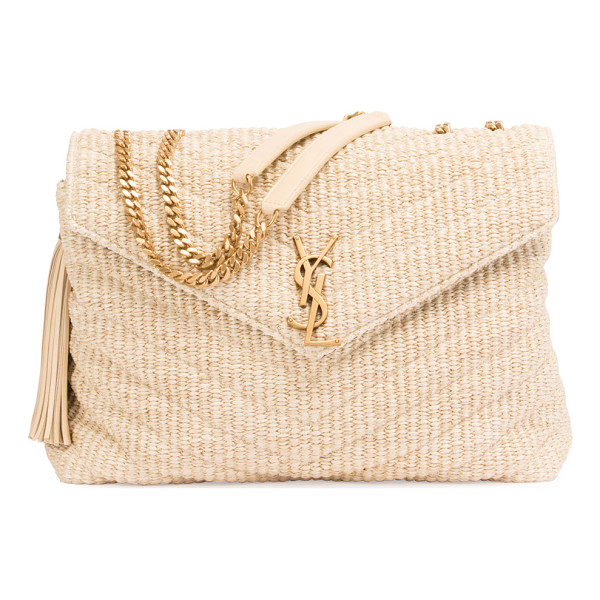 SAINT LAURENT Medium Soft Raffia Chain Shoulder Bag - Saint Lauren matelasse raffia shoulder bag. Flat