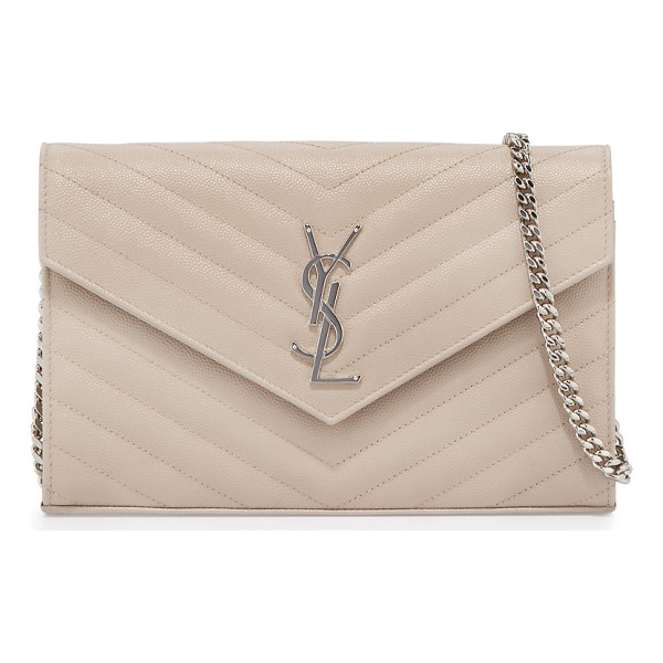 SAINT LAURENT Monogram matelasse leather wallet-on-a-chain - Saint Laurent calfskin wallet-on-a-chain. Chevron quilted...
