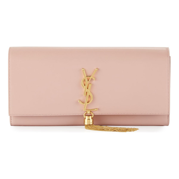SAINT LAURENT Monogram Tassel Clutch Bag - Saint Laurent glossy calfskin clutch bag. Flap top with...