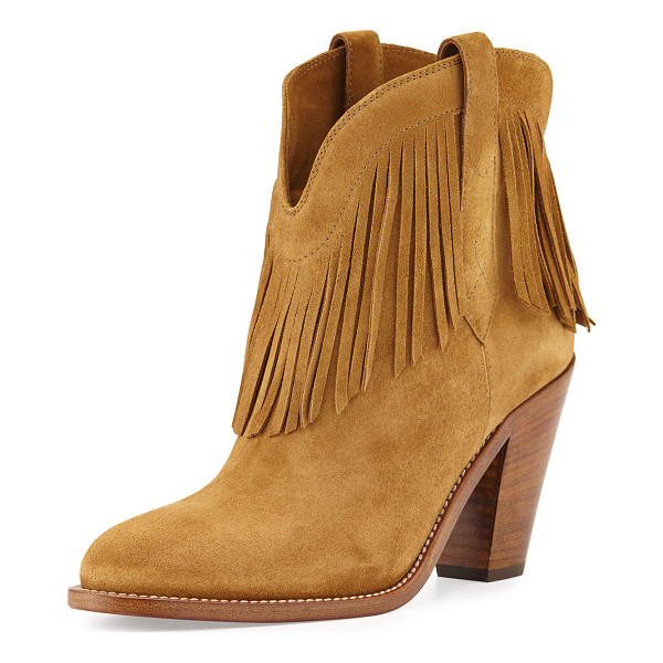 "SAINT LAURENT New western fringe bootie - Saint Laurent Western-style suede bootie. 3"" stacked heel...."