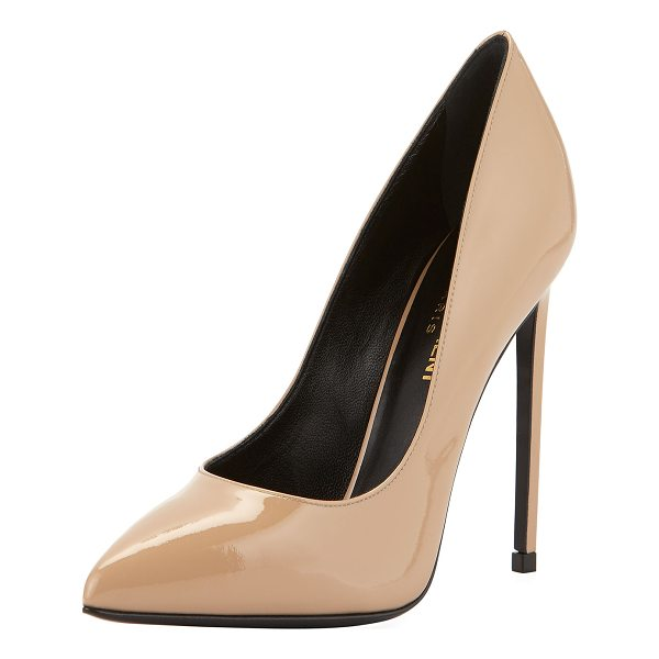 "SAINT LAURENT Paris Patent Leather Pump - Saint Laurent patent leather pump. 4.3"" covered heel...."