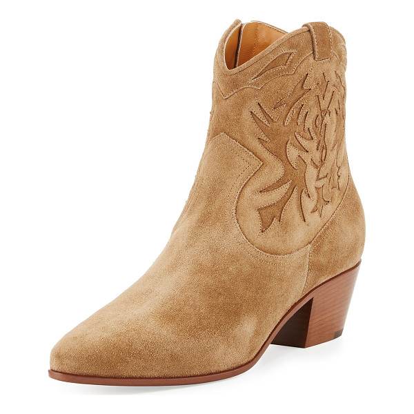 "SAINT LAURENT Rock Embroidered Western Bootie - Saint Laurent ""Rock"" embroidered suede boot. 1.8"" stacked"