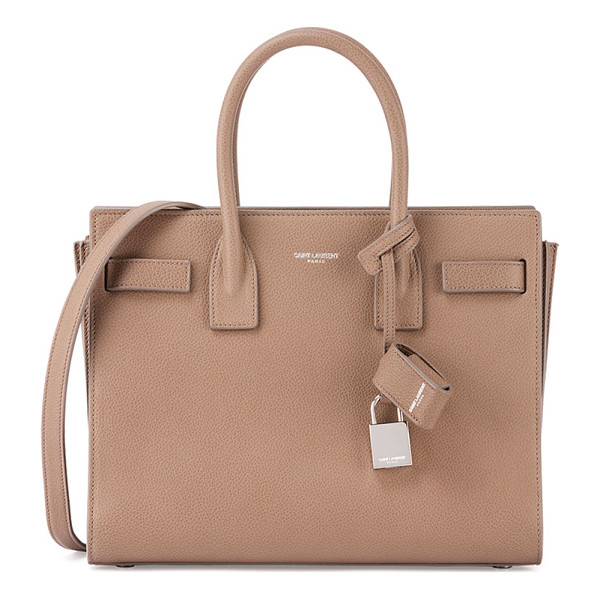 SAINT LAURENT Sac de Jour Baby Grain Leather Satchel Bag - Saint Laurent grain calfskin satchel. Rolled top handles;
