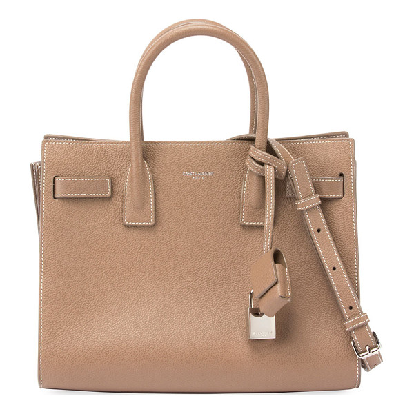 SAINT LAURENT Sac de Jour Baby Grain Leather Tote Bag - Saint Laurent grained calfskin tote bag with contrast...