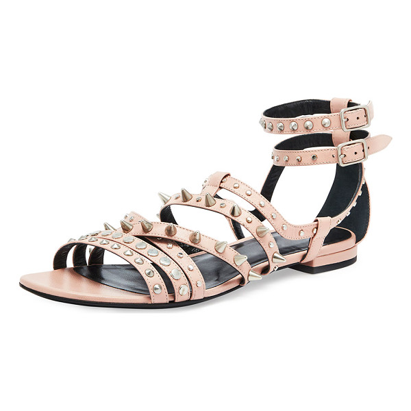 SAINT LAURENT Strappy Studded Flat Sandal - Saint Laurent strappy calfskin sandal. Round and cone studs...