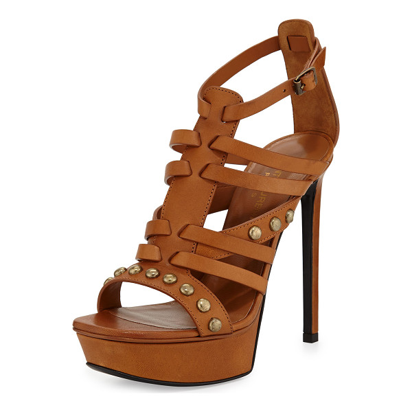 """SAINT LAURENT Studded caged-front sandal - Saint Laurent strappy leather sandal. 5"""" covered heel with..."""
