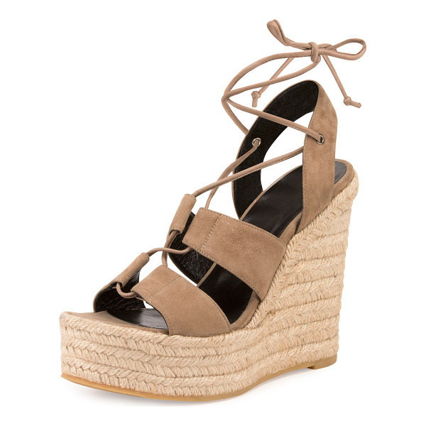 "SAINT LAURENT Suede 95mm Espadrille Wedge Sandal - Saint Laurent suede espadrille sandal. 4.8"" braided-jute..."