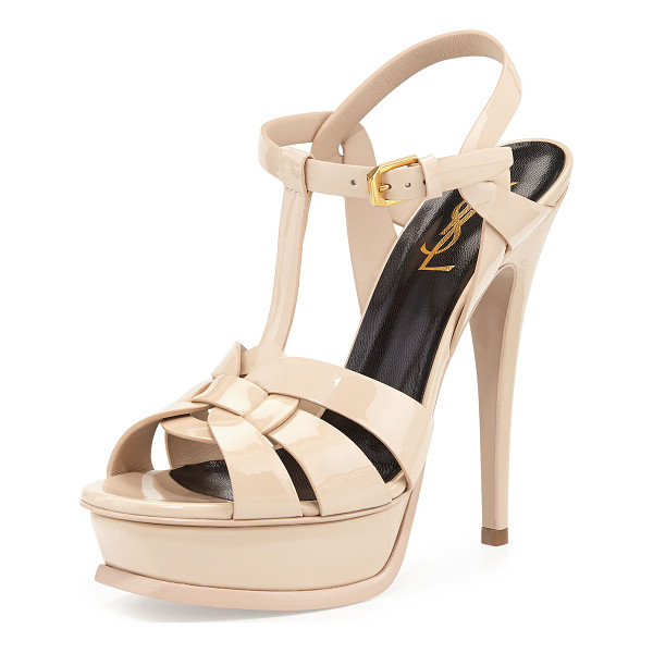 "SAINT LAURENT Tribute Patent 135mm Platform Sandal - Saint Laurent soft patent leather sandal. 5.3"" covered..."