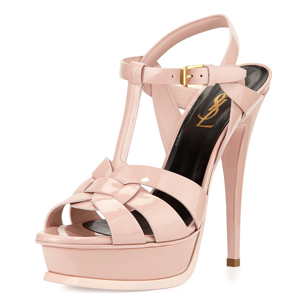 SAINT LAURENT Tribute Patent Platform Sandal - Saint Laurent patent leather Tribute sandal; golden
