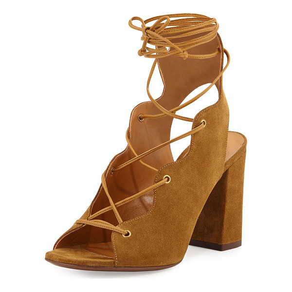 "SAINT LAURENT Babies Suede Lace-Up Sandal - Saint Laurent suede sandal. 3.5"" covered block heel. Open"