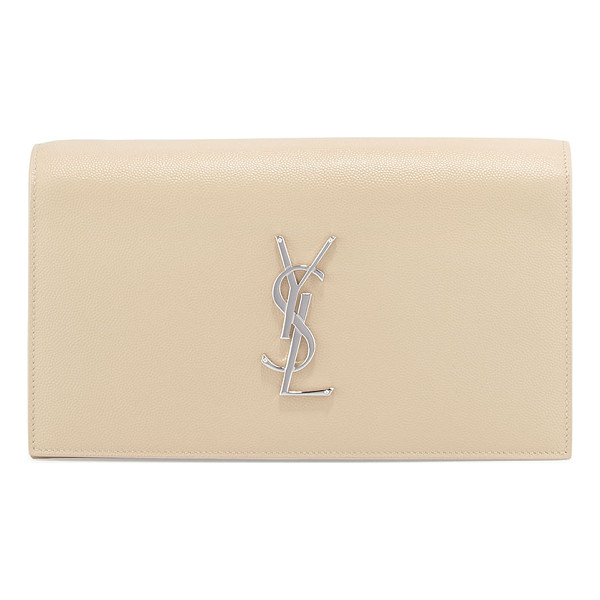 SAINT LAURENT Monogram Grain Calfskin Clutch Bag - Saint Laurent grained calf leather clutch bag. Flap top...