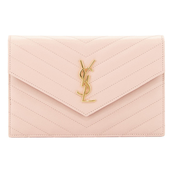 SAINT LAURENT Monogram leather small wallet-on-a-chain bag - Saint Laurent chevron quilted calfskin wallet-on-chain....
