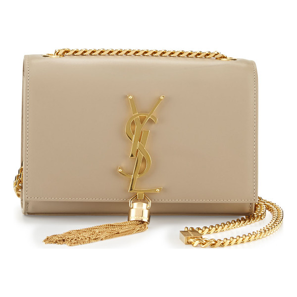 SAINT LAURENT Monogram Small Tassel Crossbody Bag - Saint Laurent smooth calf leather shoulder bag. Golden...