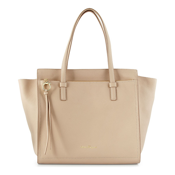 "SALVATORE FERRAGAMO Amy Large Tote Bag - Salvatore Ferragamo ""Amy"" large leather tote bag. Flat"