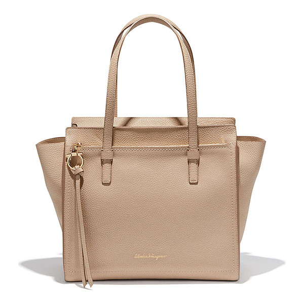 SALVATORE FERRAGAMO Medium Leather Tote Bag - Salvatore Ferragamo pebbled calfskin tote bag. Pale golden...