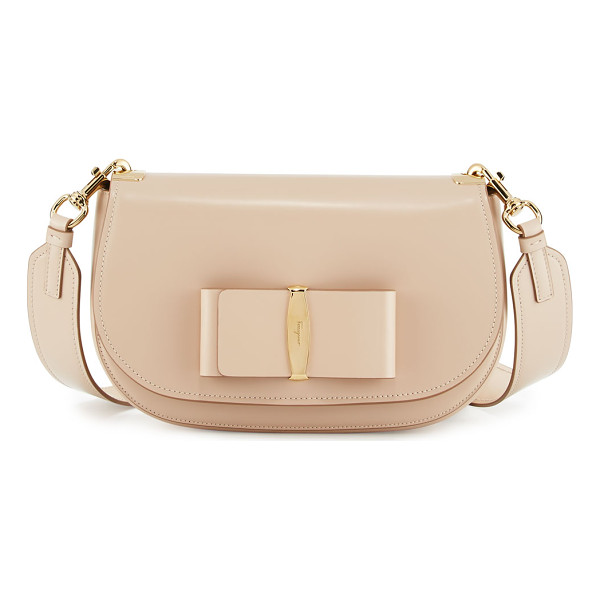 SALVATORE FERRAGAMO Leather Shoulder Bag - Salvatore Ferragamo polished leather shoulder bag. Golden...