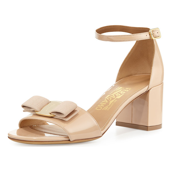 SALVATORE FERRAGAMO Bow Patent City Sandal - Salvatore Ferragamo patent leather city sandal. 2.3""