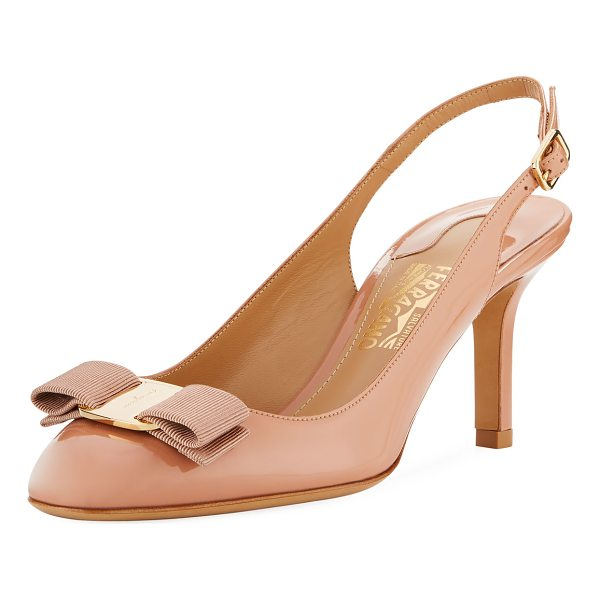 SALVATORE FERRAGAMO Slingback Pump with Signature Vara Bow - Salvatore Ferragamo slingback pump in patent leather with...