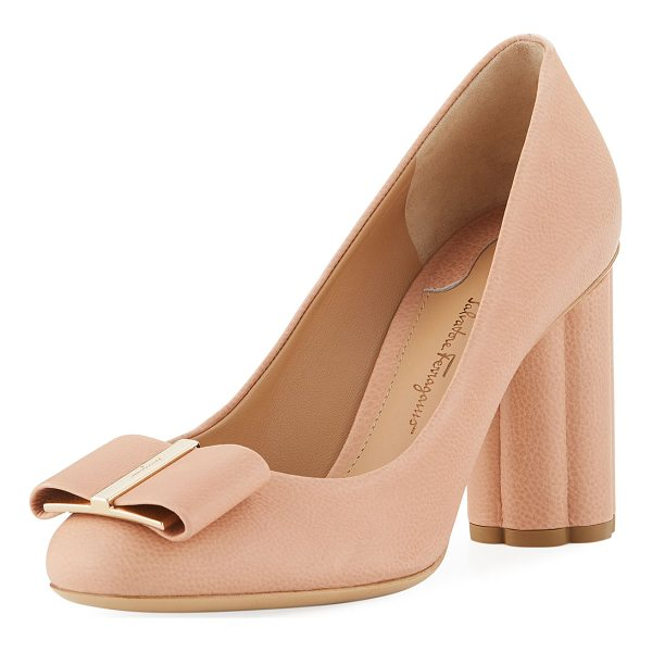 "SALVATORE FERRAGAMO Pebbled Leather Flower-Heel 85mm Pump - Salvatore Ferragamo pebbled leather pump. 3.3""..."
