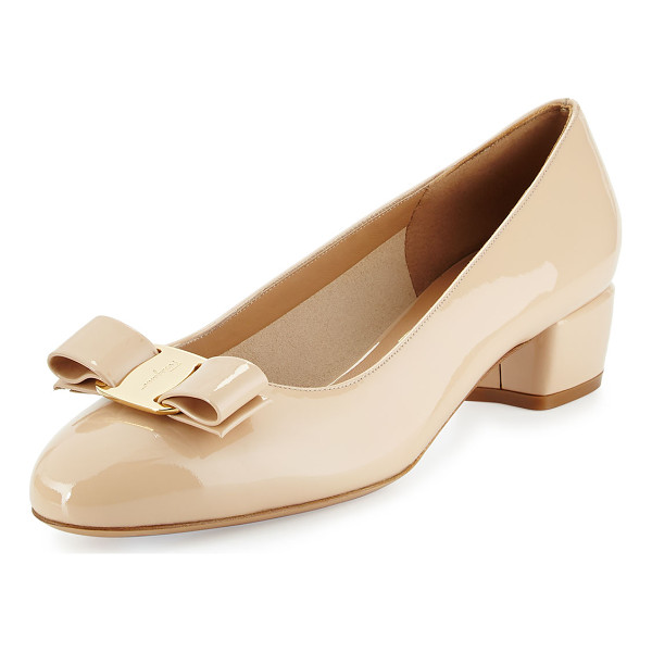 "SALVATORE FERRAGAMO Vara 1 Patent Bow Pump - Salvatore Ferragamo patent leather pump. 1.5"" covered block"
