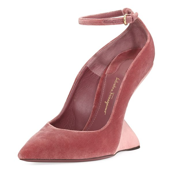 "SALVATORE FERRAGAMO Velvet Wedge Pump - Salvatore Ferragamo velvet pump. 4.3"" sculptural half wedge..."