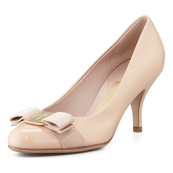 SALVATORE FERRAGAMO Carla Patent Bow Pump - Patent leather upper. Grosgrain bow, golden logo buckle at
