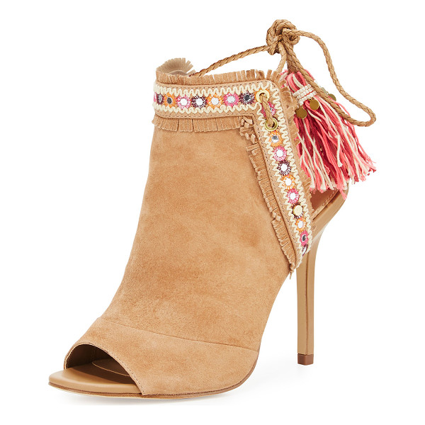 SAM EDELMAN Artie 2 Fringe Open-Toe Bootie - Sam Edelman kid suede bootie with embroidered, fringe trim.