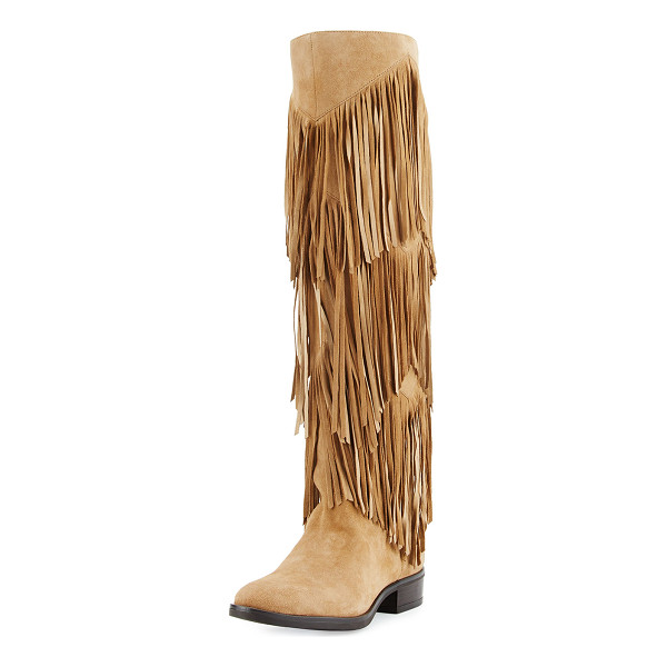 "SAM EDELMAN Pendra Fringe Knee Boot - Sam Edelman kid suede knee boot. 0.8"" stacked heel; 18.5""H..."