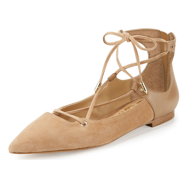 "SAM EDELMAN Rosie Pointed-Toe Lace-Up Flat - Sam Edelman kid suede flat. 0.3"" flat stacked heel. Pointed..."