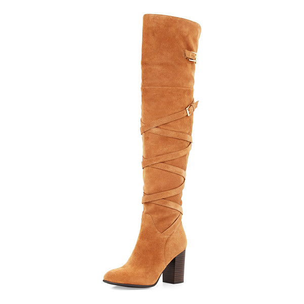 "SAM EDELMAN Sable Strappy Suede Over-the-Knee Boot - Sam Edelman suede over-the-knee boot. 3.3"" stacked block..."