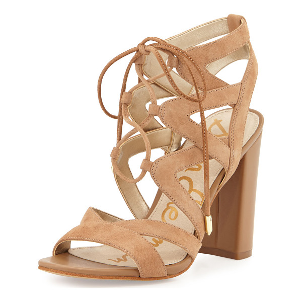 "SAM EDELMAN Yardley Suede Lace-Up Sandal - Sam Edelman kid suede sandal. 4"" covered block heel. Open..."
