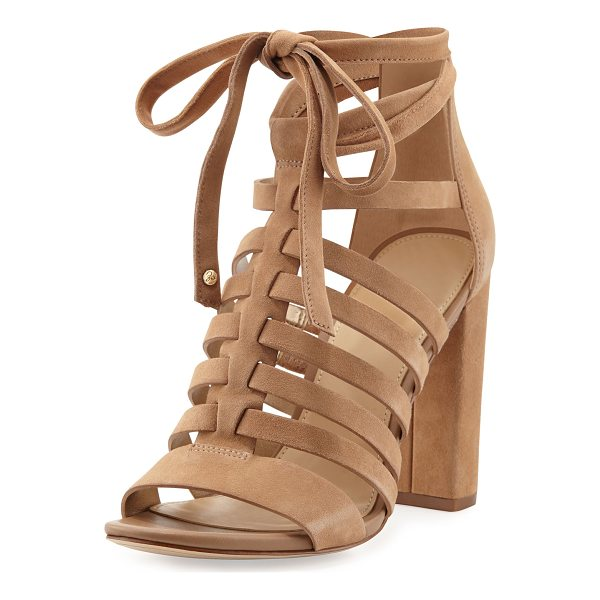 "SAM EDELMAN Yarina Caged Suede Sandal - Sam Edelman kid suede sandal. 3.8"" covered block heel. Open..."