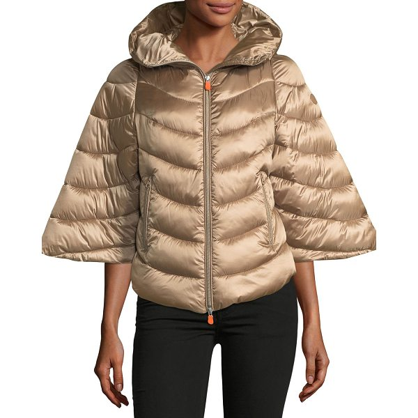 SAVE THE DUCK Iris Quilted Puffer Zip-Front Hooded Poncho - Save The Duck quilted puffer coat with synthetic...