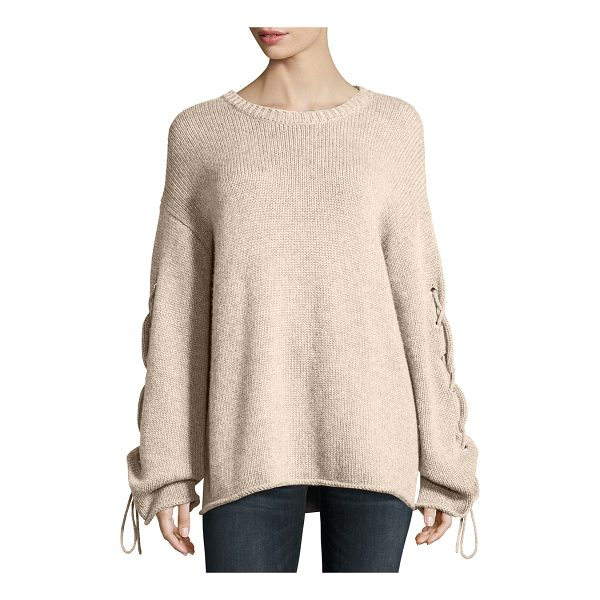 SEE BY CHLOE Lace-Up Sleeves Cable-Knit Pullover Sweater - See by Chloe soft cable-knit sweater with lace-up sleeves...