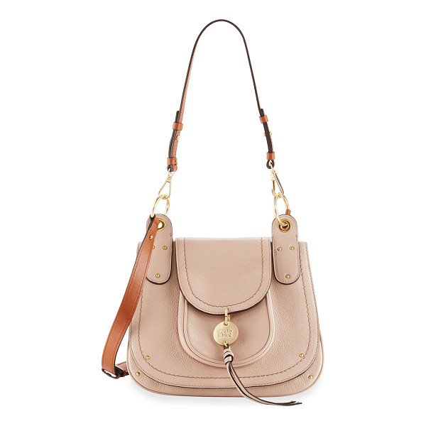 SEE BY CHLOE Leather Flap Shoulder Bag - See by Chloe grained leather shoulder bag. Golden hardware....