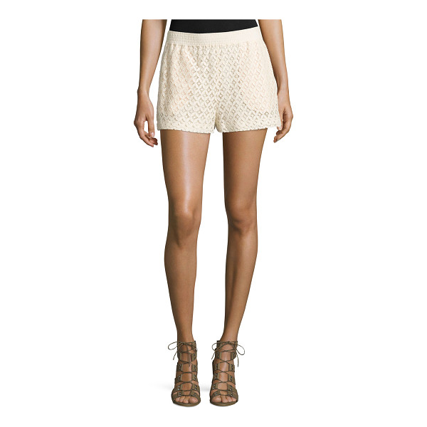 SEE BY CHLOE Mid-Rise Lace Shorts - See by Chloe geometric-lace shorts. Approx. measurements:...