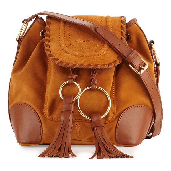 SEE BY CHLOE Polly Suede Flap Bucket Bag - See by Chloe suede shoulder bag with fringe tassels. Pale