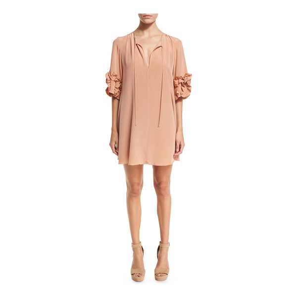 SEE BY CHLOE Ruffle-Sleeve Silk Shift Dress - See by Chloe mini dress in silk. V neckline with optional...
