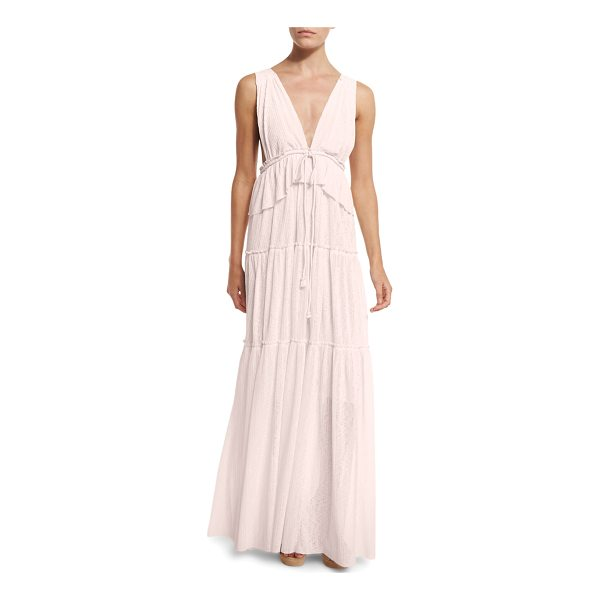SEE BY CHLOE Sleeveless Tiered Voile Maxi Dress - See by Chloe maxi dress in voile. Deep V neckline; square...