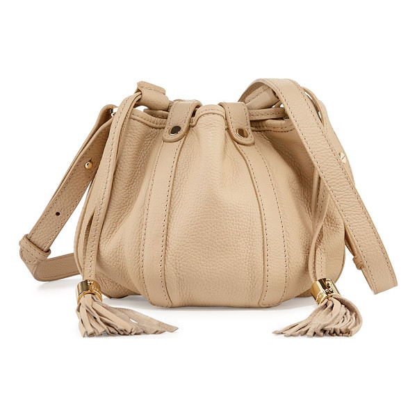 SEE BY CHLOE Small leather drawstring bucket bag - See by Chloe pebbled leather bucket bag. Golden hardware....