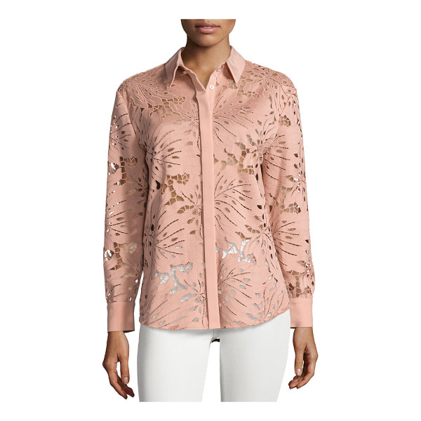 SELF-PORTRAIT Palm Guipure Lace Long-Sleeve Shirt - Self Portrait guipure lace top in palm leaf motif. Solid...