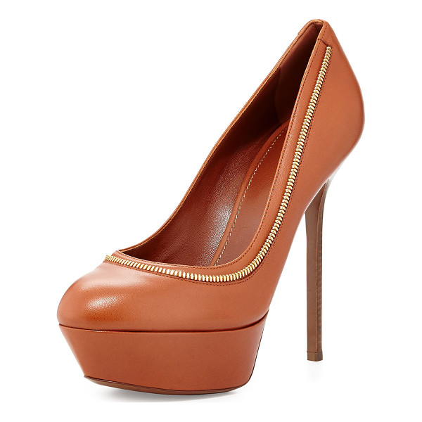 SERGIO ROSSI Zipper-trim platform pump -  Sergio Rossi leather pump with golden zipper trim around...