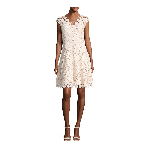 "SHOSHANNA Buchanan Cap-Sleeve Floral Lace Dress - Shoshanna ""Buchanan"" dress in floral guipure lace...."