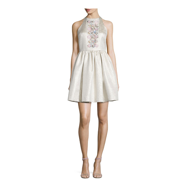 SHOSHANNA Sleeveless Floral-Center Party Dress - Shoshanna shimmery jacquard party dress embellished with a...