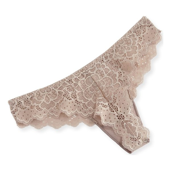 "SIMONE PERELE Caresse Lace Mesh Thong - Simone Perele ""Caresse"" mesh thong. Low rise; sits at hips...."