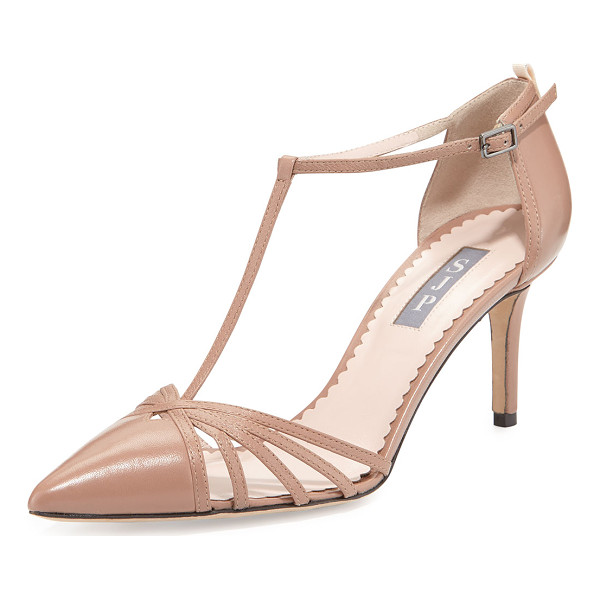 "SJP BY SARAH JESSICA PARKER Carrie Leather T-Strap 70mm Pump - SJP by Sarah Jessica Parker napa leather pump. 3"" covered"