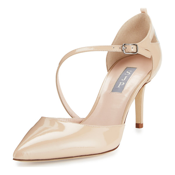 "SJP BY SARAH JESSICA PARKER Luce Asymmetric-Strap Patent Pump - SJP by Sarah Jessica Parker patent leather pump. 3"" covered"