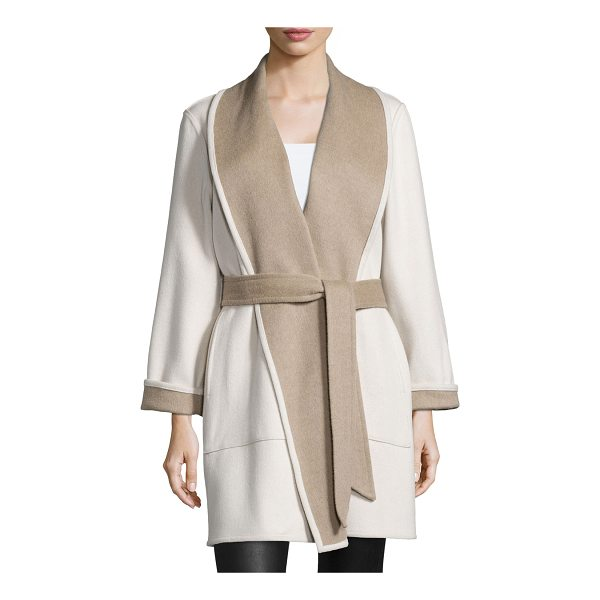 SOFIA CASHMERE Reversible Double-Face Wrap Coat - Sofia Cashmere double-face, two-tone coat with reversible...